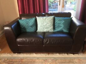Lovely brown leather 2 seater sofa minimal wear