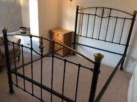 Victorian cast iron and brass double bed