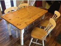 Pineapple sturdy pine dining table and 4 chairs