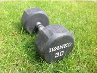 Hex Ivanko Dumbbells hand weights various weights 25,30,35,40Kg in pairs