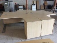 Four Light Oak L Shape Desks & Pedestals