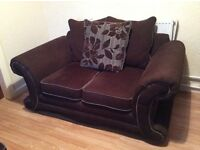 X2 BROWN FABRIC FLORAL PATTERN TWO SEATER SOFAS