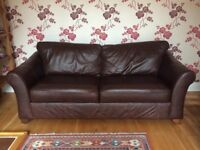 Leather 3 seater sofa and matching single chair.