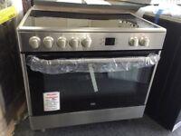Beko 90cm electric range cooker. 5 zone ceramic hob £420 new/graded 12 month Gtee