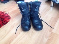 Army cadet black leather boots
