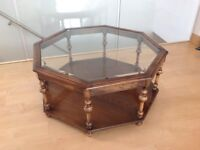 Coffee table, bevelled glass top 100% wood. Octagonal design