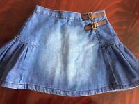 Girl's skirt, denim with buckles, age 5/6 yrs (Mothercare), worn once
