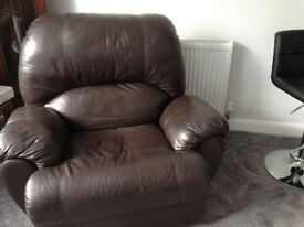 Free good condition brown leather chair very comfy