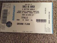 Chris de Burgh Concert ticket in his hometown of Dublin
