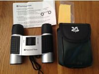 New Compact Silver Binoculars 8X21 with Protective Carry Pouch