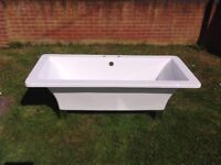 AS NEW..... FREE STANDING MODERN BATH WITH CHROME FEET