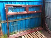 Large mahogany upvc double glazed window unit