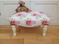 Vintage shabby chic foot stool in Cath Kidston antique rose and Laura Ashley Pale Biscuit