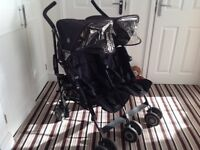 Maclaren black twin techno stroller/buggy.