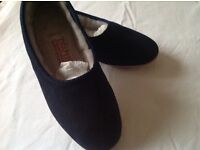 Brand new Drapers blue suede slippers