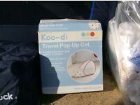 Koodi travel cot,mothercare baby carrier and changing mat
