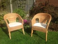 2 Cane chairs, suitable for conservatory.