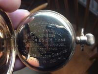 Half hunter pocket watch with military connection