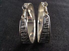 Silver/Black Zebra Hoop Earrings