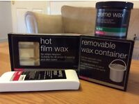 HOT FILM WAX, REMOVABLE WAX CONTAINER, CREME WAX, WAX STRIPS