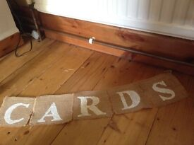 Hessian card banner- perfect for weddings