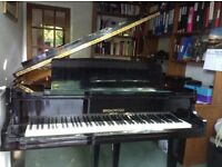 BABY GRAND PIANO - Broadwood Model No.49 in ebonised black bright polish.