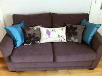 Brown fabric suite - two sofa set
