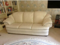 Sofa 3 Seater Natuzzi Cream Leather - smart & plenty of life left