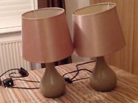 Two taupe coloured lamps