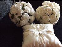 2 bridesmaid posies and ring cushion