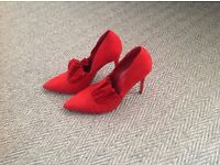 Red suede heels, size 7 (41)