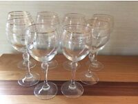Wine glasses with gold patterned trim