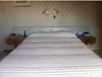 Double bed headboard with end tables attached
