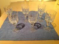 6 quality crystal wine glasses