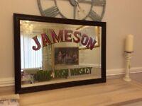 Vintage framed Jameson Irish whiskey mirror