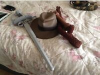 Indiana Jones hat ,whip and sword