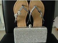 Diamanté clutch bag and flip flops