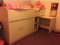 Children's wolf midi cabin bed with desk