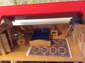 ELC WOODEN DOLLS HOUSE + LOTS OF ACCESSORIES