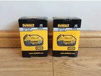 2 x DeWalt DCB182 18v XR Slide 4 ah Li-Ion Batteries Brand New