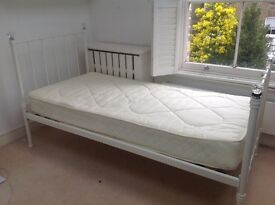 Girl's white bed. Comfortable single bed.
