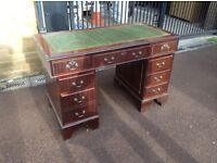Elegant writing desk and chair with matching lamp