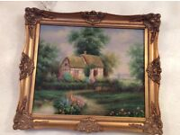 Oil Painting With Gold Carved Frame, Excellent Condition, Can Deliver.