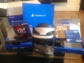 SONY PS4 VR HEADSET BUNDLE INCL. DEMO DISC, CAMERA AND GAMES