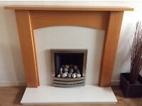 GAS FIRE BRUSHED STEEL PEBBLE EFFCT WITH SURROUND