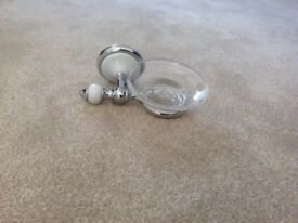 Glass soap dish and holder