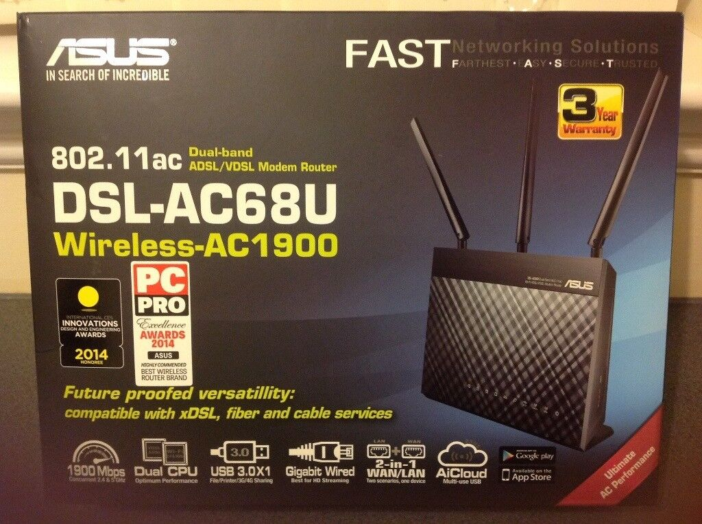Unused ASUS DSL-AC68U Dual-band ADSL/VDSL Modem Router in original ...