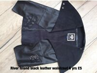 River island black leather look waistcoat age 6