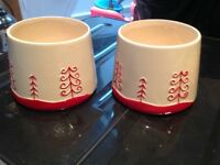 plant pots with christmas detail