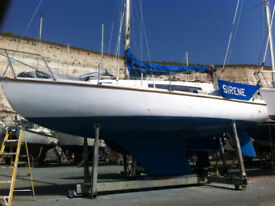 Ver 27 sailing boat, designed by Robert Clark, currently berthed Brighton Marina.